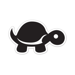 "4"" x 2.375"" Sticker - Black Die Cut - Tip It Turtle"
