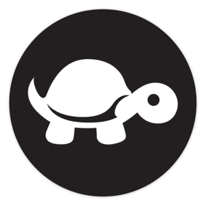 "4"" Sticker - White on Black (round) - Tip It Turtle"