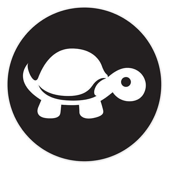 4″ Sticker – White on Black (round) – Tip It Turtle