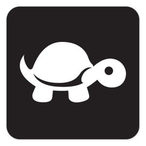 "4"" Sticker - White on Black (square) - Tip It Turtle"